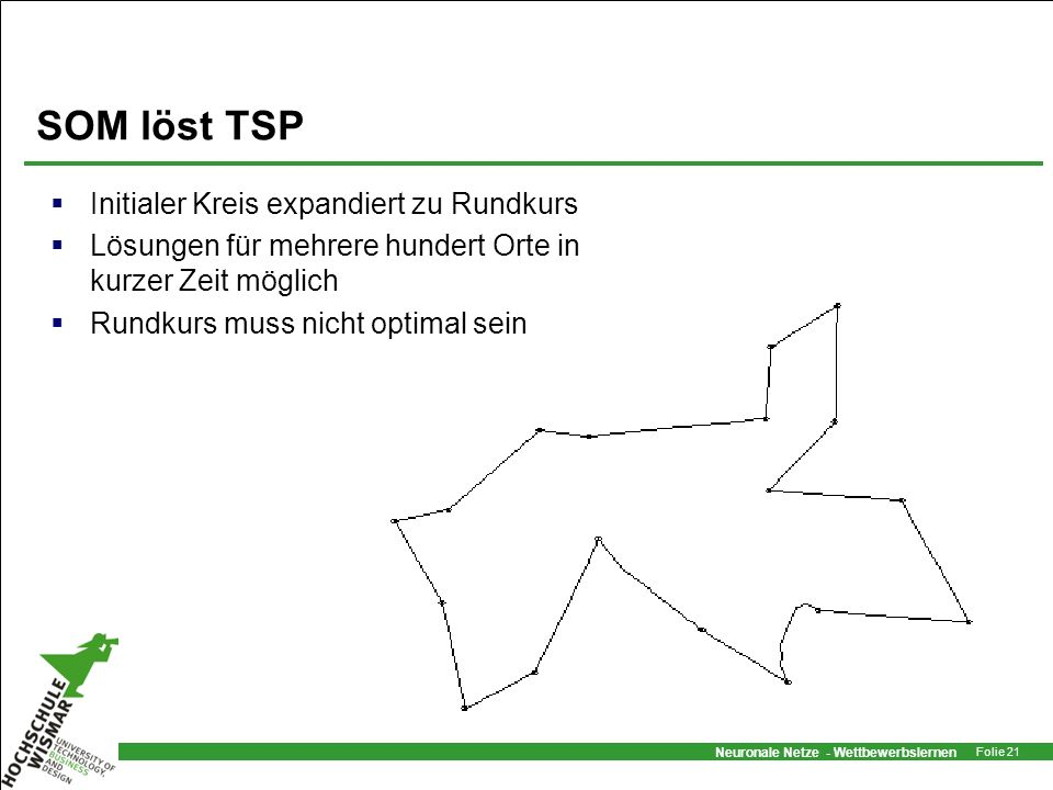 SOM löst TSP Initialer Kreis expandiert zu Rundkurs
