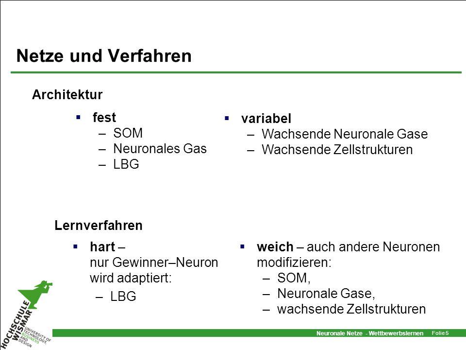 Netze und Verfahren Architektur fest SOM Neuronales Gas LBG variabel