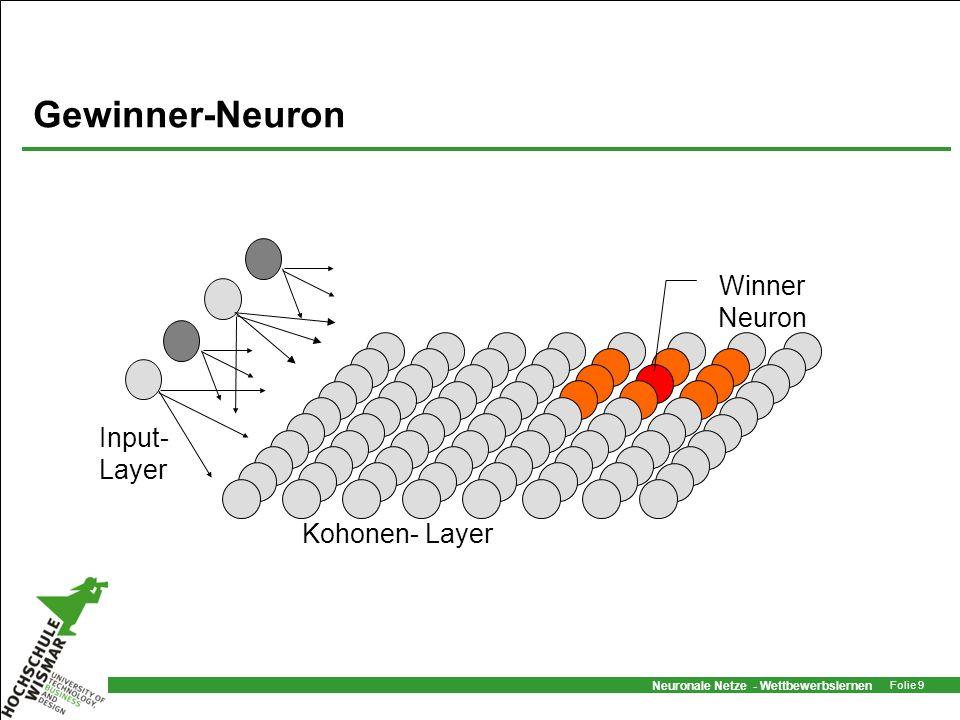 Gewinner-Neuron Kohonen- Layer Input- Layer Winner Neuron