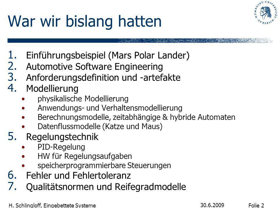 War wir bislang hatten Einführungsbeispiel (Mars Polar Lander)