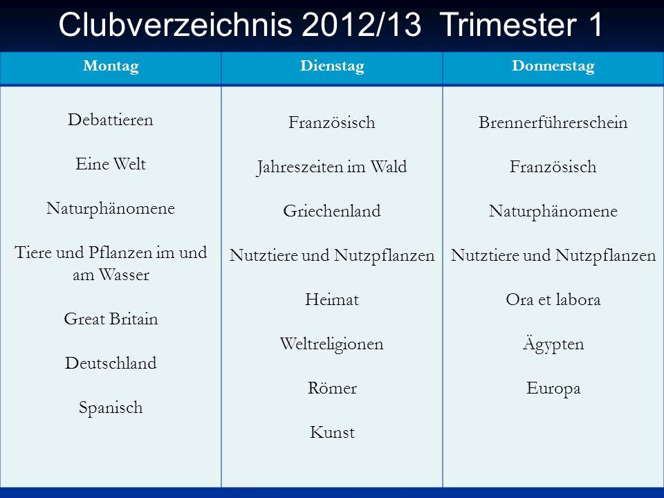 Clubverzeichnis 2012/13 Trimester 1