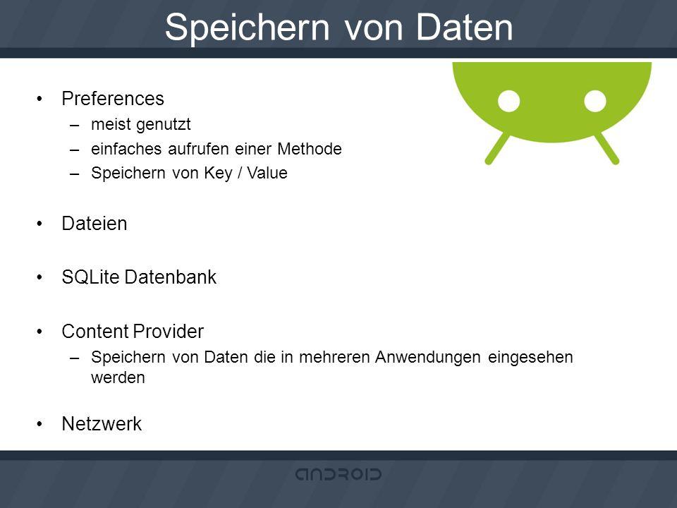 Speichern von Daten Preferences Dateien SQLite Datenbank