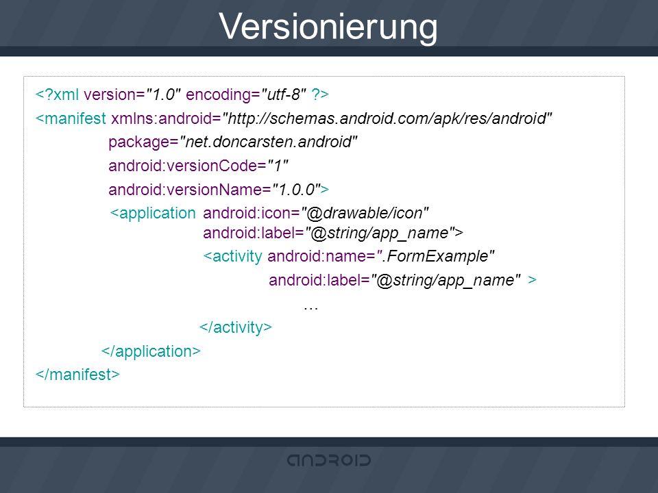 Versionierung < xml version= 1.0 encoding= utf-8 >