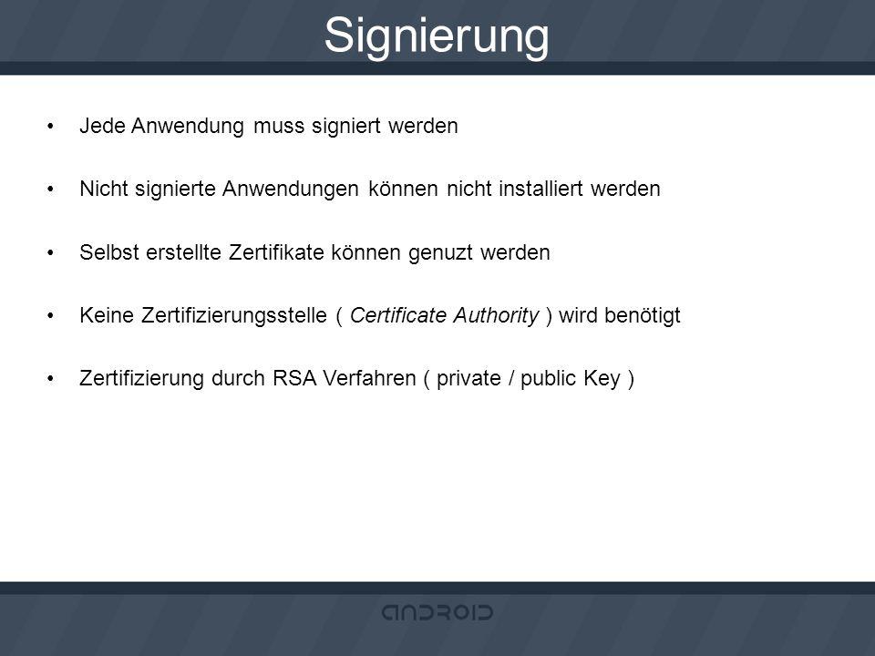 Signierung Jede Anwendung muss signiert werden