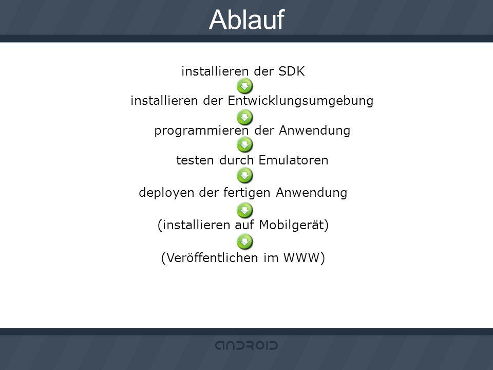 Ablauf installieren der SDK installieren der Entwicklungsumgebung programmieren der Anwendung testen durch Emulatoren.
