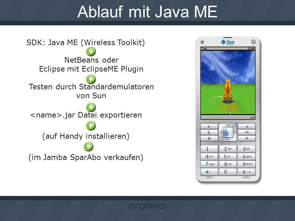 Ablauf mit Java ME SDK: Java ME (Wireless Toolkit) NetBeans oder Eclipse mit EclipseME Plugin Testen durch Standardemulatoren von Sun.