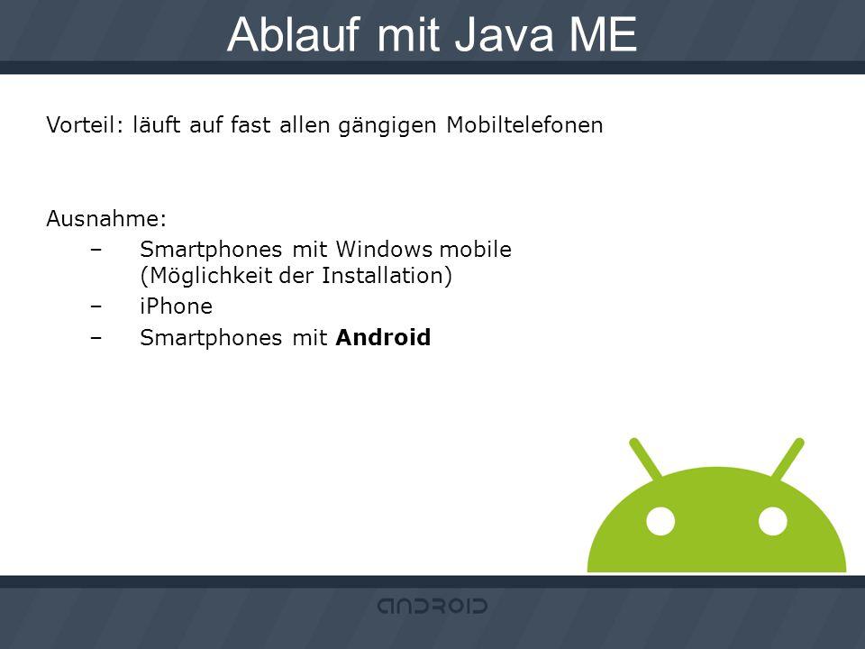 Ablauf mit Java ME Vorteil: läuft auf fast allen gängigen Mobiltelefonen. Ausnahme: Smartphones mit Windows mobile (Möglichkeit der Installation)