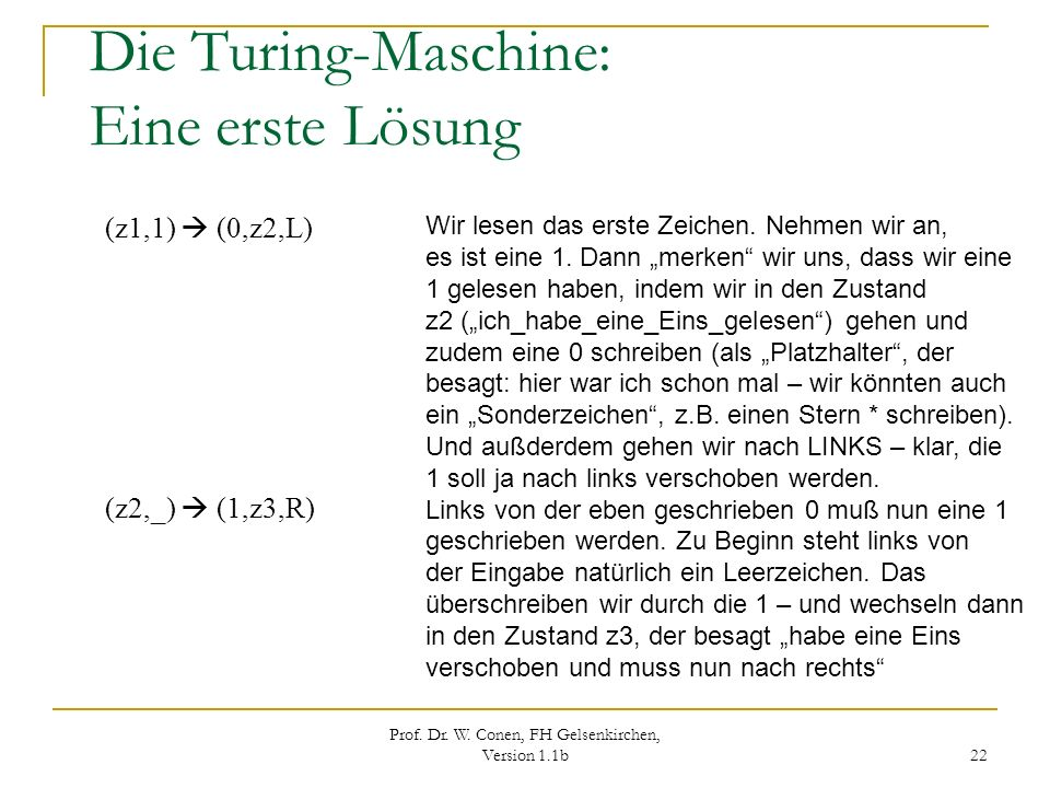 Die Turing-Maschine: Eine erste Lösung