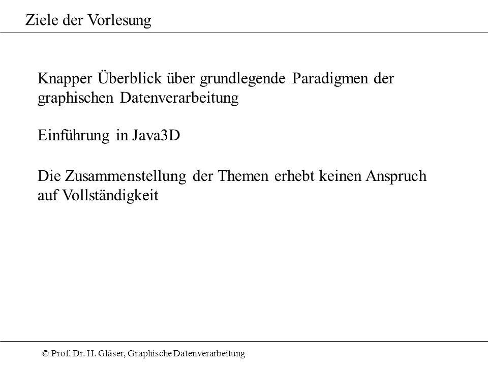Ziele der Vorlesung Knapper Überblick über grundlegende Paradigmen der. graphischen Datenverarbeitung.