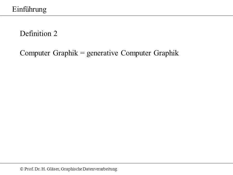 Einführung Definition 2 Computer Graphik = generative Computer Graphik