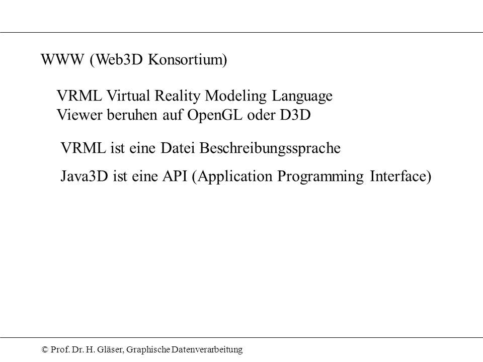 WWW (Web3D Konsortium)VRML Virtual Reality Modeling Language. Viewer beruhen auf OpenGL oder D3D. VRML ist eine Datei Beschreibungssprache.