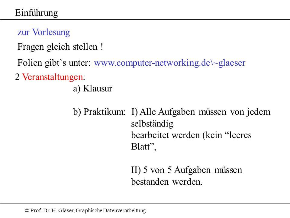 Einführung zur Vorlesung. Fragen gleich stellen ! Folien gibt`s unter: www.computer-networking.de\~glaeser.