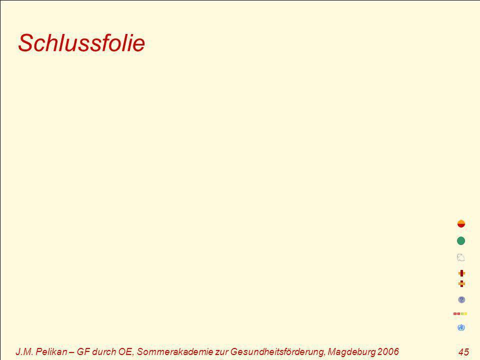Schlussfolie J.M. Pelikan – GF durch OE, Sommerakademie zur Gesundheitsförderung, Magdeburg 2006