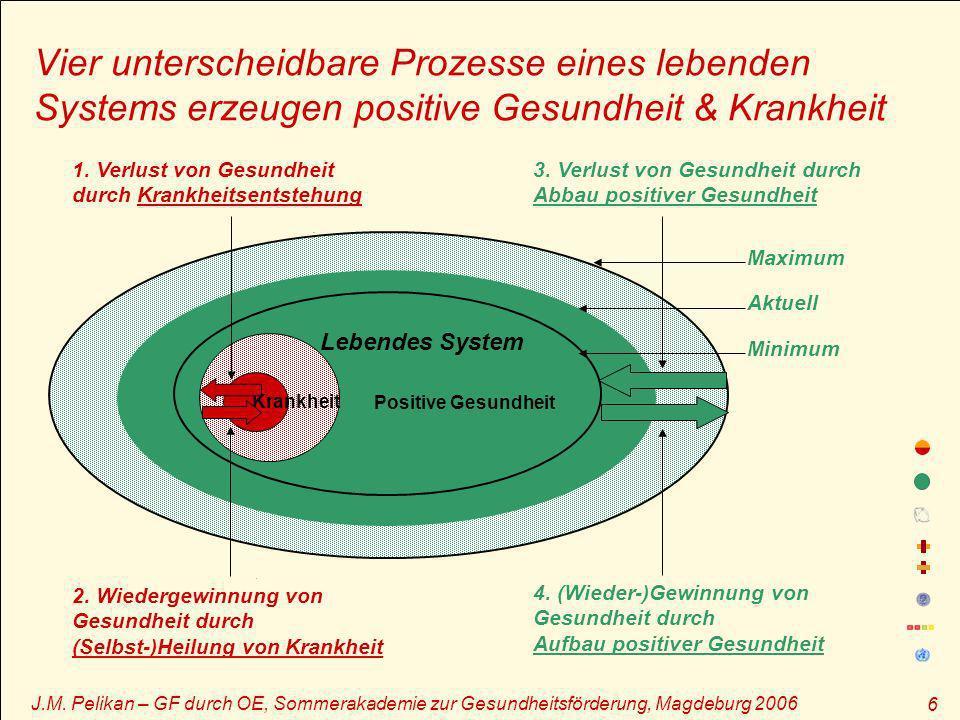 Vier unterscheidbare Prozesse eines lebenden Systems erzeugen positive Gesundheit & Krankheit