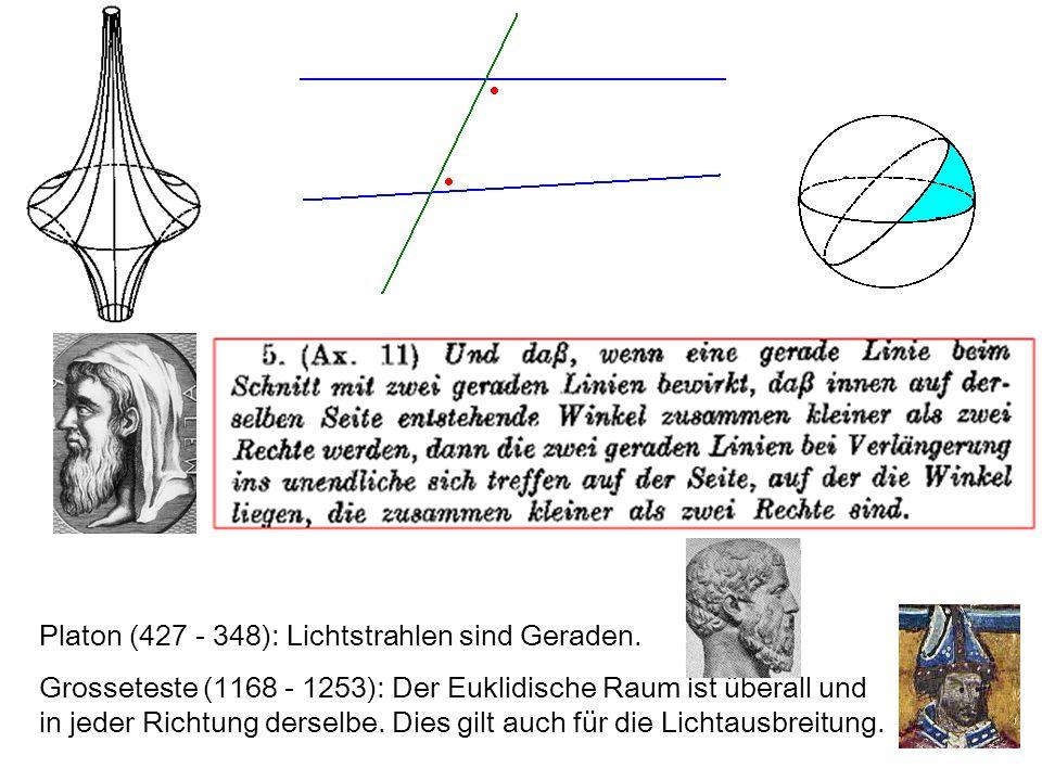 Platon (427 - 348): Lichtstrahlen sind Geraden.