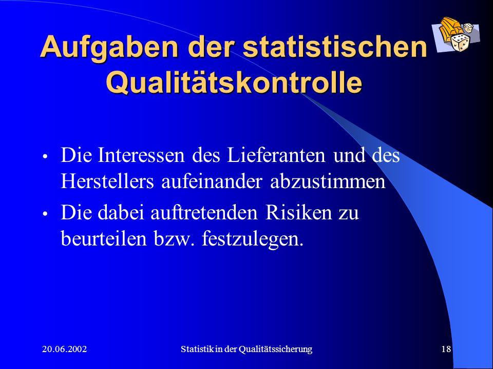 Aufgaben der statistischen Qualitätskontrolle