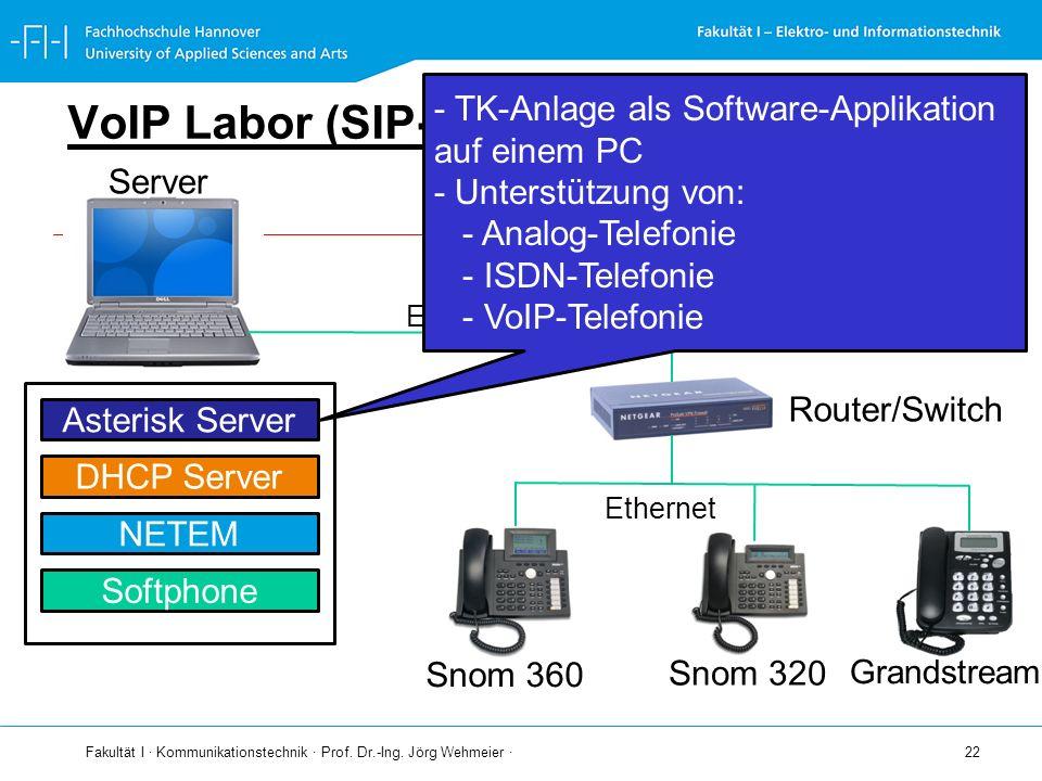 VoIP Labor (SIP-LAB) - TK-Anlage als Software-Applikation auf einem PC