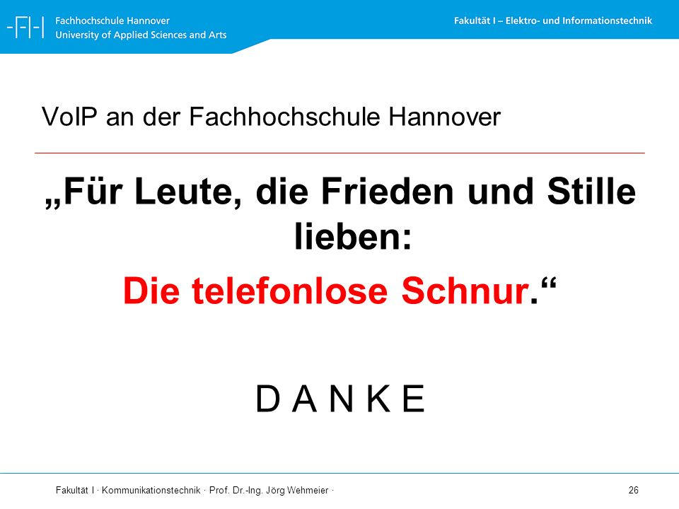 VoIP an der Fachhochschule Hannover