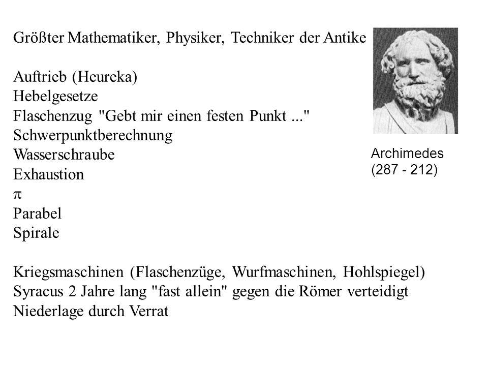 Größter Mathematiker, Physiker, Techniker der Antike