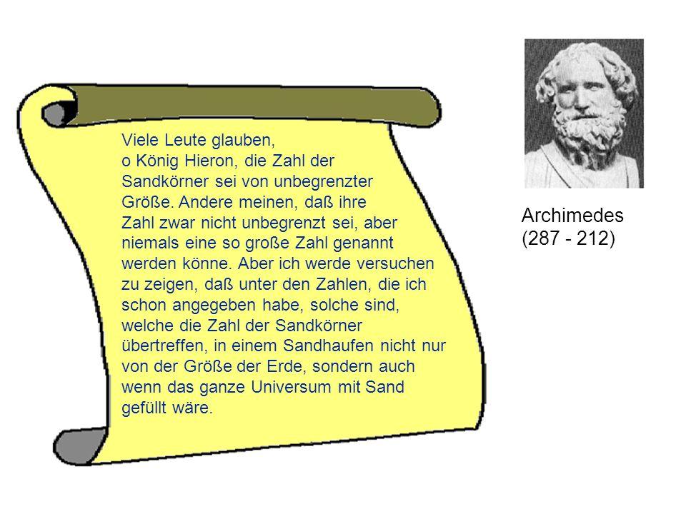 Archimedes (287 - 212) Viele Leute glauben,