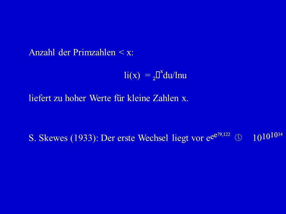 Anzahl der Primzahlen < x: