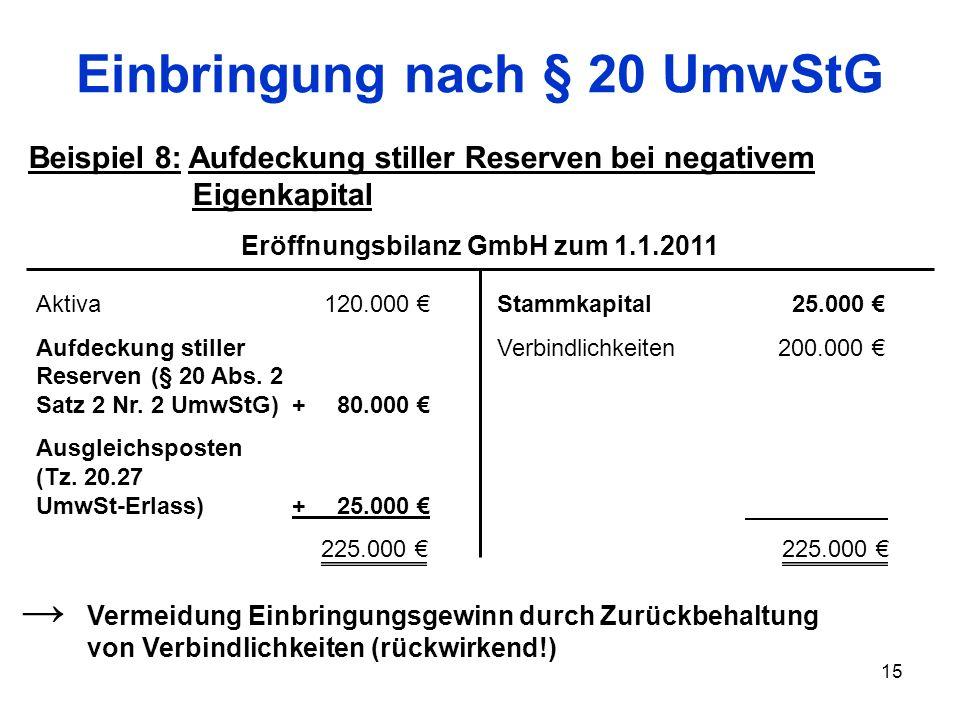 Einbringung nach § 20 UmwStG