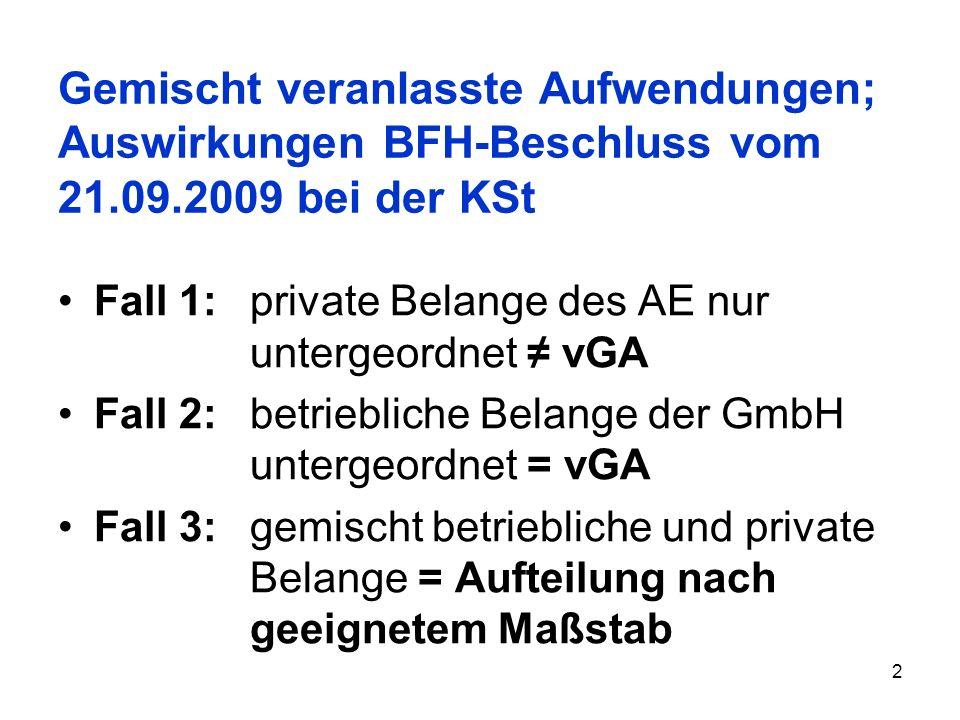 Gemischt veranlasste Aufwendungen; Auswirkungen BFH-Beschluss vom 21