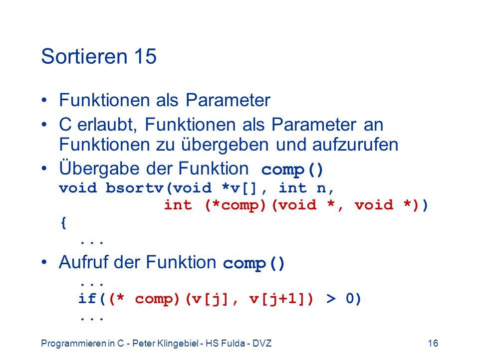 Sortieren 15 Funktionen als Parameter