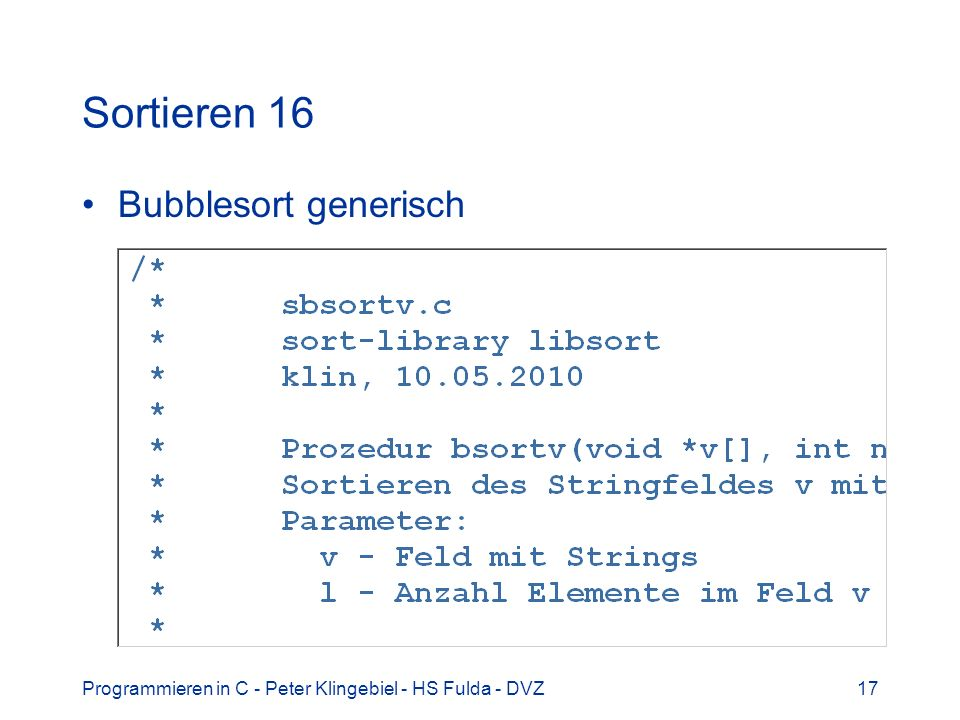 Sortieren 16 Bubblesort generisch