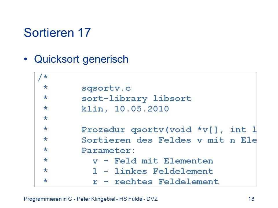 Sortieren 17 Quicksort generisch