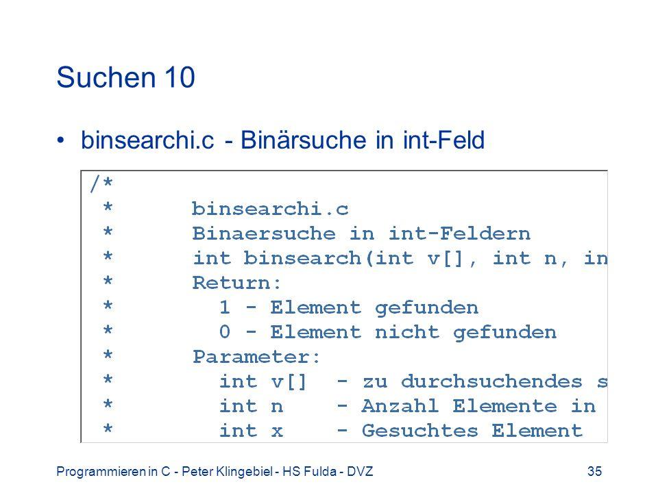 Suchen 10 binsearchi.c - Binärsuche in int-Feld