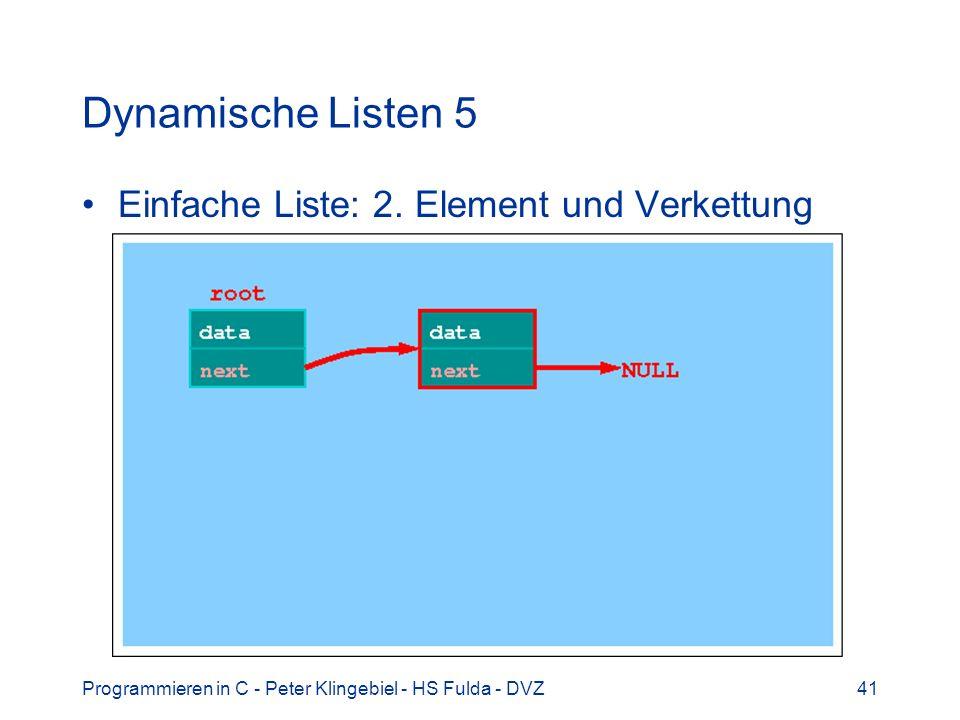 Dynamische Listen 5 Einfache Liste: 2. Element und Verkettung
