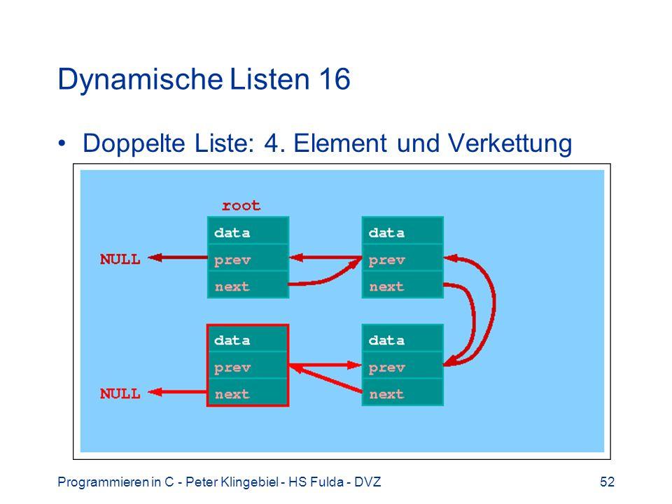 Dynamische Listen 16 Doppelte Liste: 4. Element und Verkettung