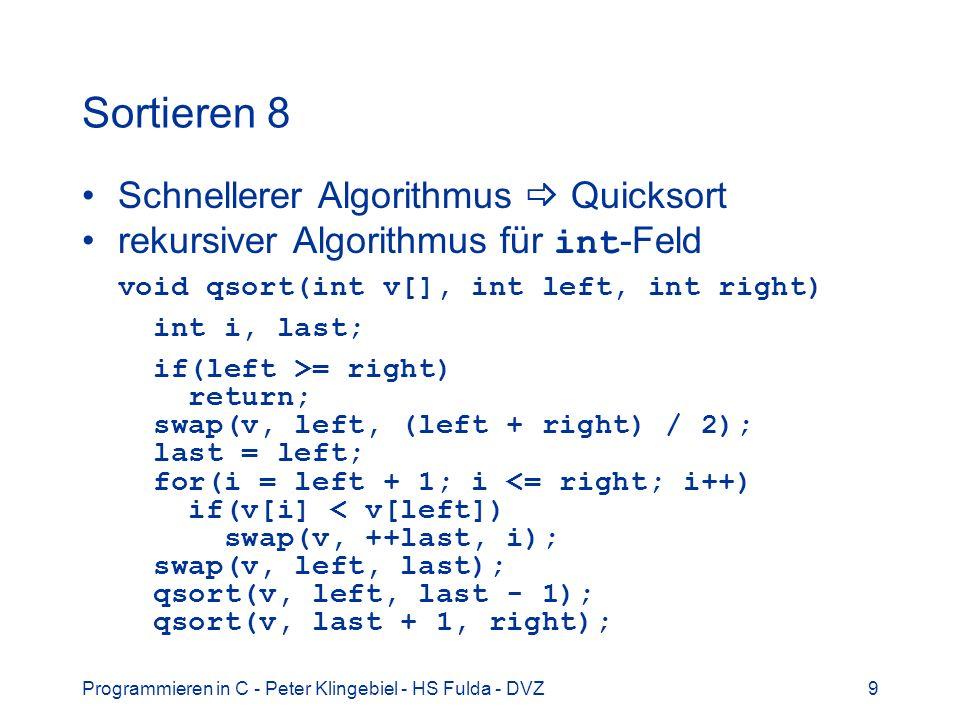 Sortieren 8 Schnellerer Algorithmus  Quicksort