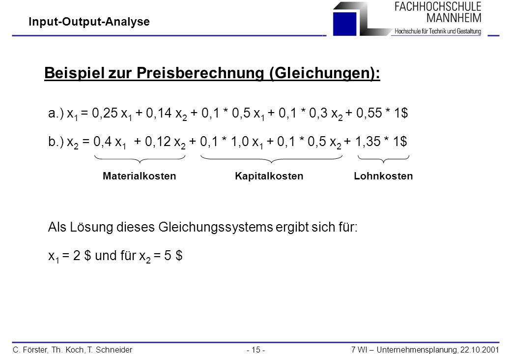 Beispiel zur Preisberechnung (Gleichungen):