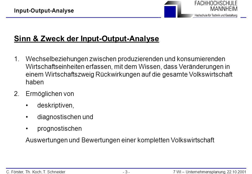 Sinn & Zweck der Input-Output-Analyse
