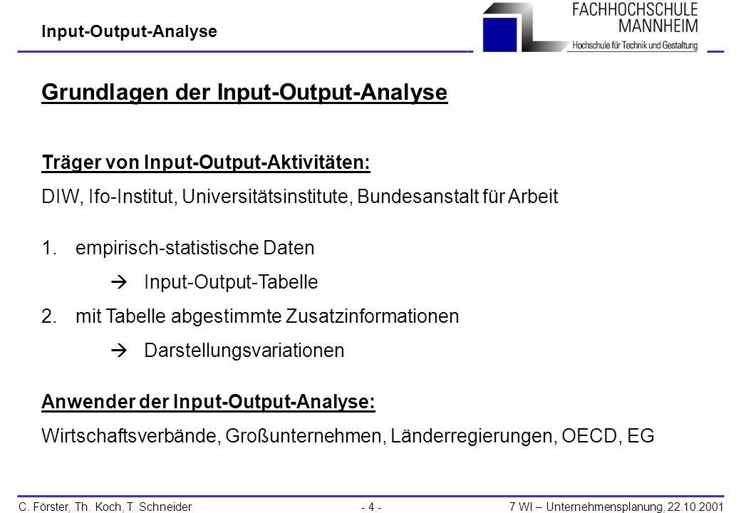 Grundlagen der Input-Output-Analyse