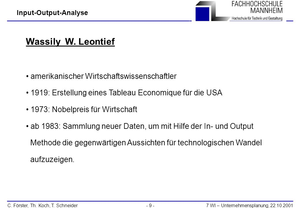 Wassily W. Leontief amerikanischer Wirtschaftswissenschaftler
