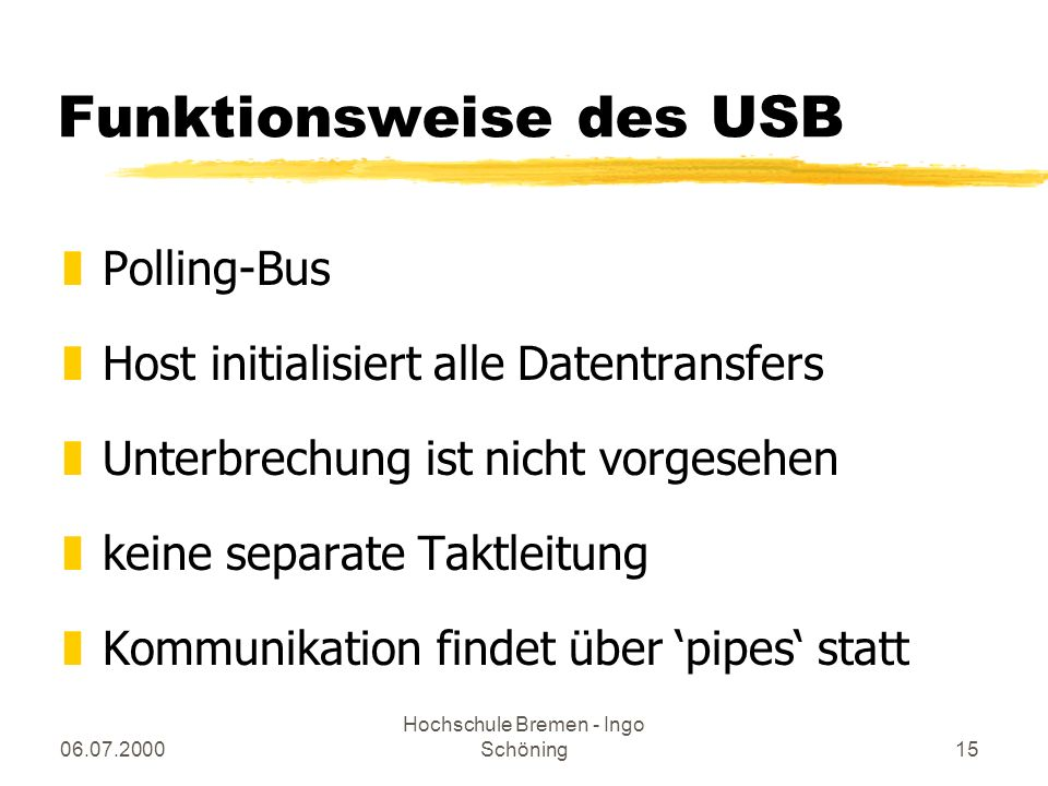 Funktionsweise des USB