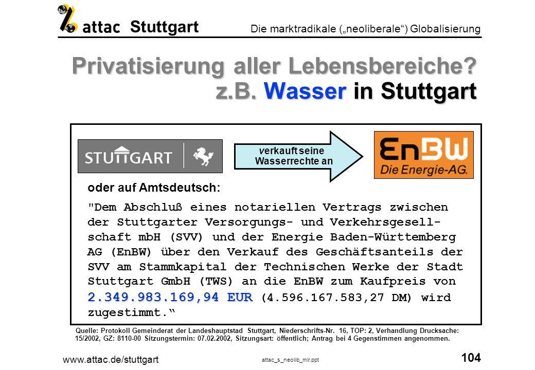 Privatisierung aller Lebensbereiche z.B. Wasser in Stuttgart