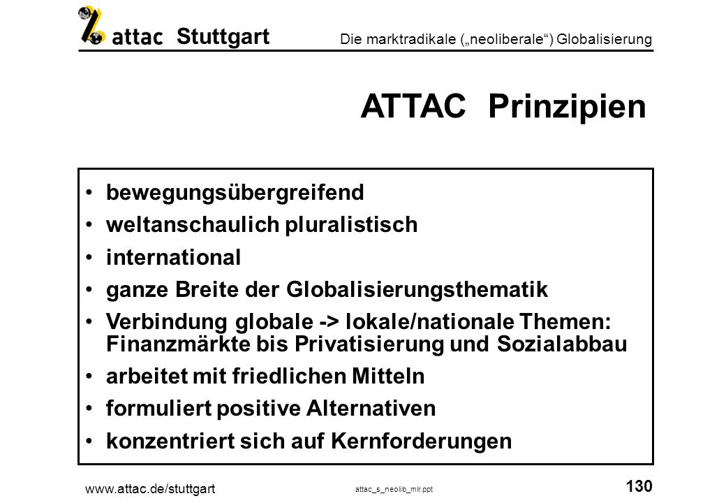 ATTAC Prinzipien bewegungsübergreifend weltanschaulich pluralistisch