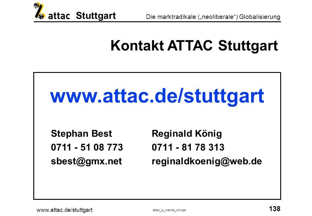 www.attac.de/stuttgart Kontakt ATTAC Stuttgart Stephan Best