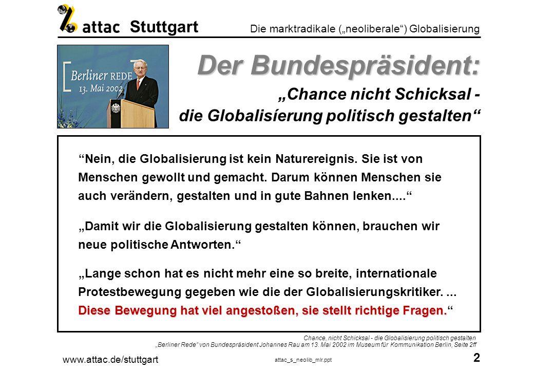 """Der Bundespräsident: """"Chance nicht Schicksal - die Globalisíerung politisch gestalten"""