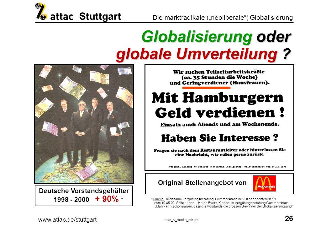 Globalisierung oder globale Umverteilung