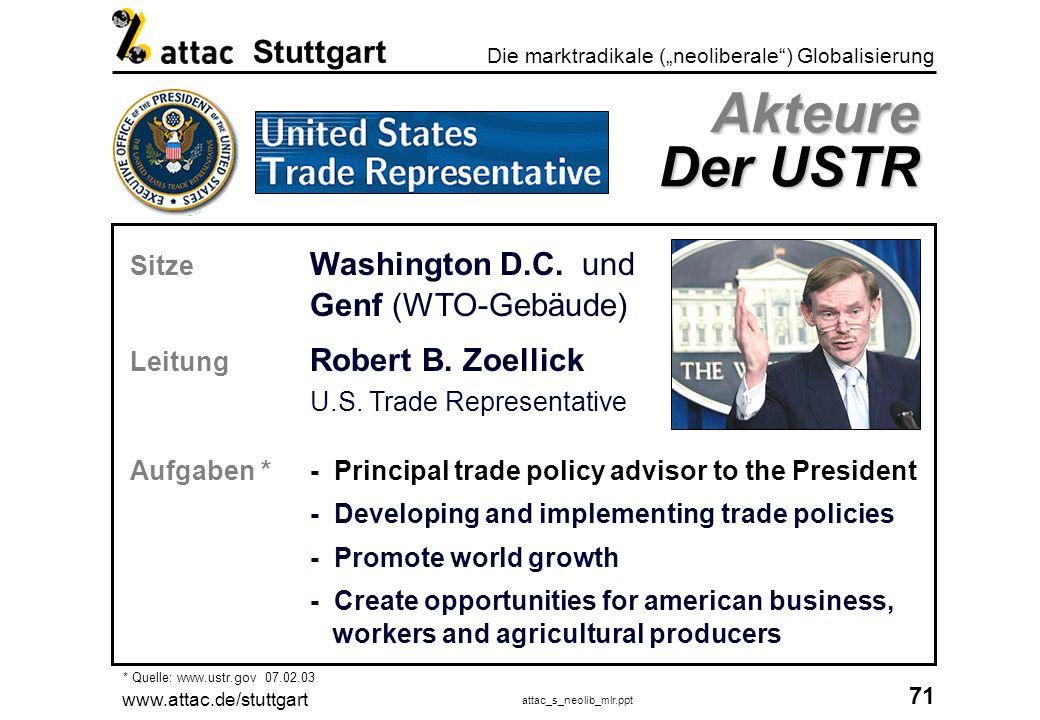 Akteure Der USTR Sitze Washington D.C. und Genf (WTO-Gebäude)