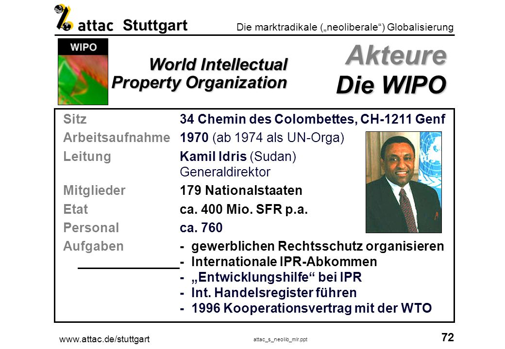 Akteure Die WIPO World Intellectual Property Organization