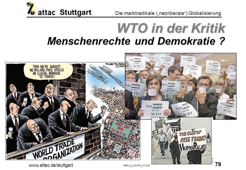 WTO in der Kritik Menschenrechte und Demokratie