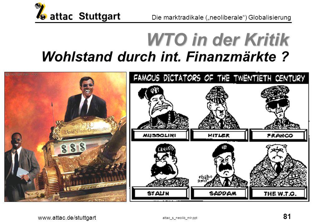 WTO in der Kritik Wohlstand durch int. Finanzmärkte