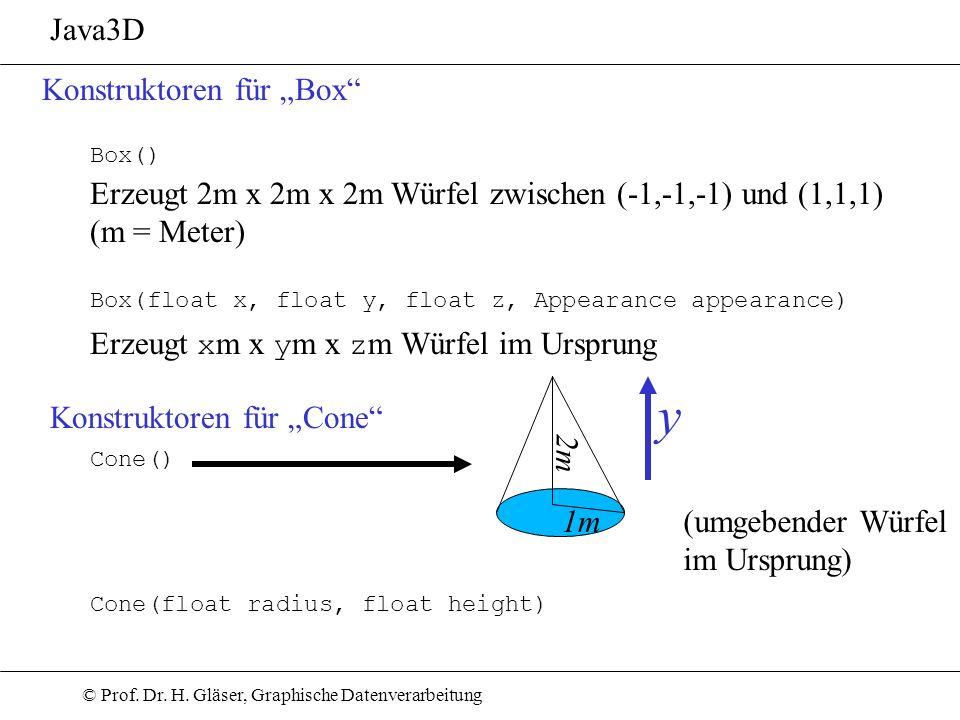 """y Java3D Konstruktoren für """"Box"""