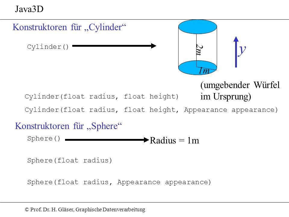 """y Java3D Konstruktoren für """"Cylinder 2m 1m (umgebender Würfel"""